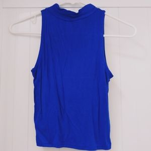 Cute blue stretch midlength top w mock turtleneck